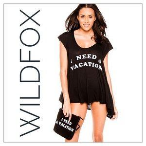 "Wildfox Black ""I Need A Vacation"" Swim Cover Up"